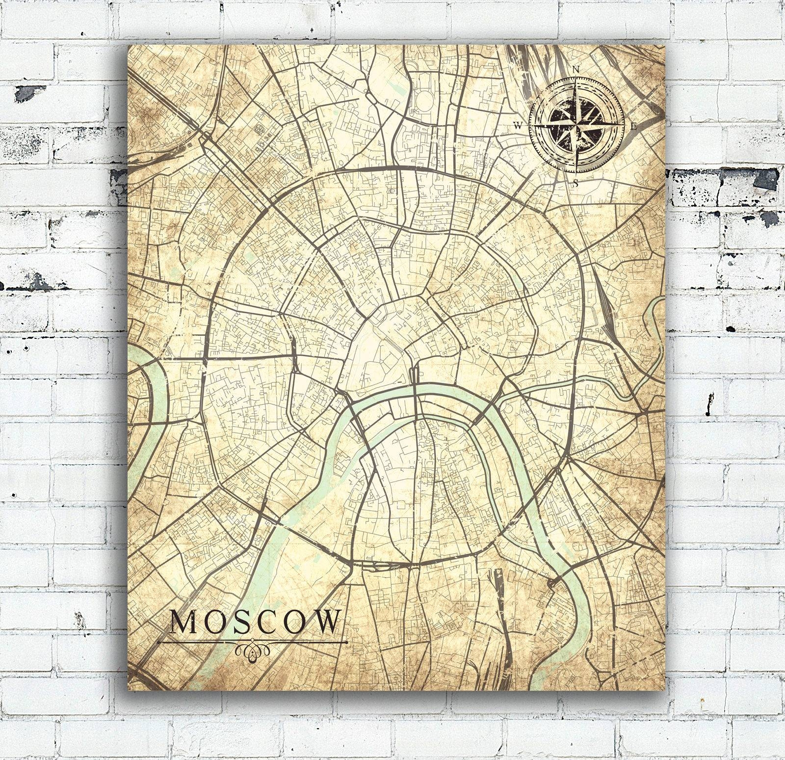 Moscow Russia Canvas Print Moscow Russia Vintage Map Wall Art City Inside Recent City Map Wall Art (View 13 of 20)
