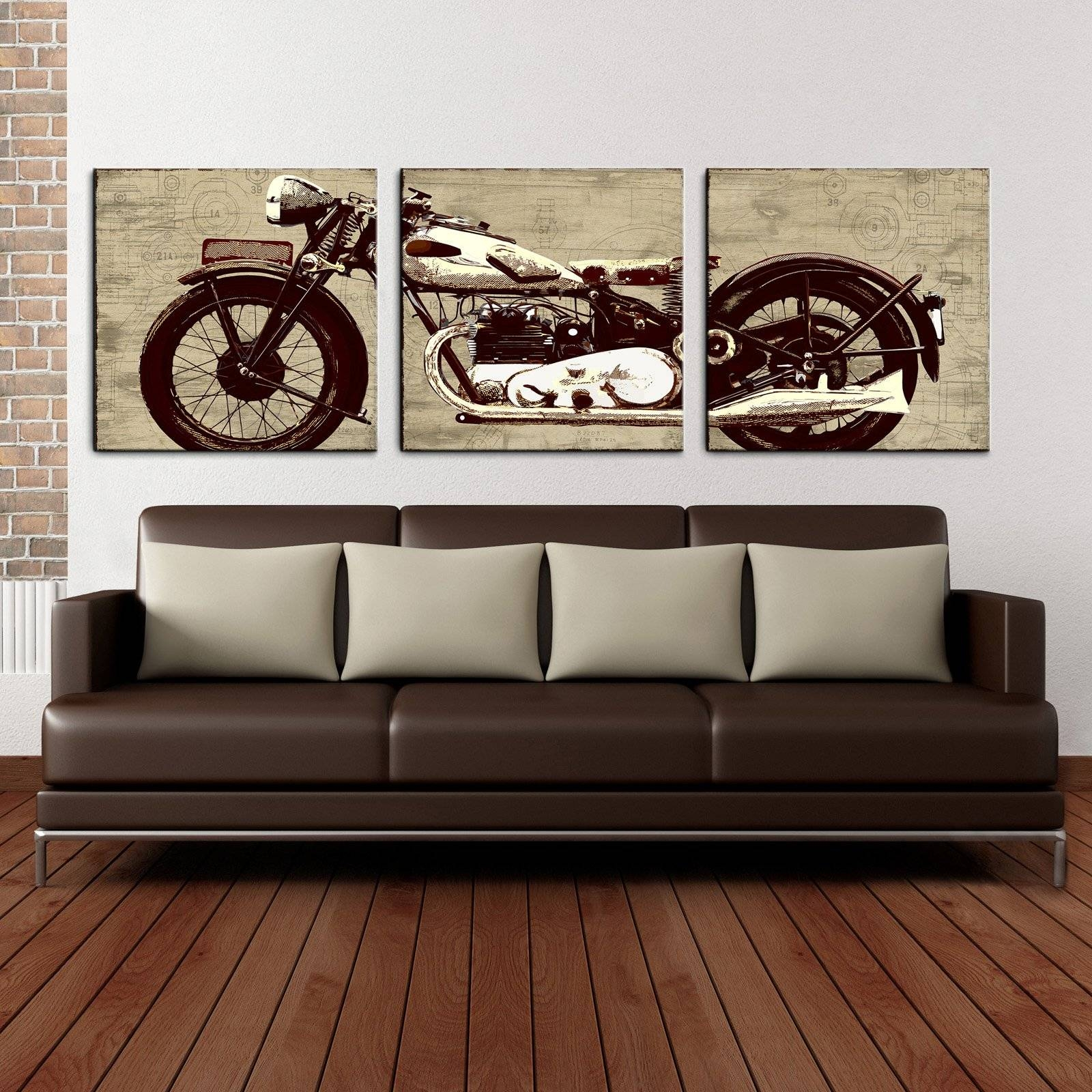 Motorcycle 24 X 72 Canvas Art Print Triptych | Hayneedle With Regard To Current Motorcycle Metal Wall Art (View 11 of 20)