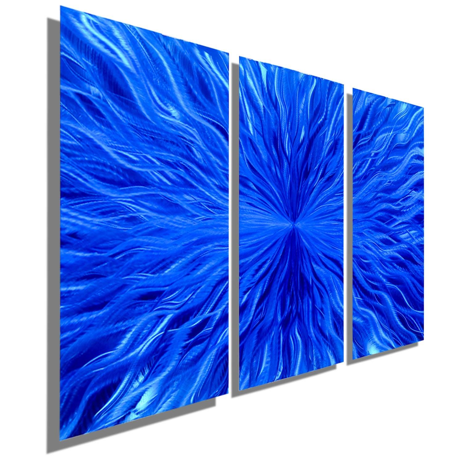 Multi Panel Contemporary Metal Wall Decor In Blue Modern Intended For Current Blue Metal Wall Art (View 15 of 20)