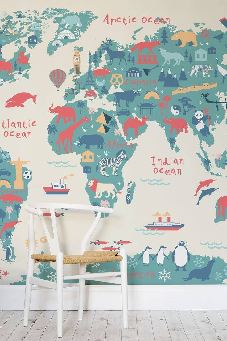 Mural : Big Pattern Paola Vintage Wall Mural Pretty Vintage Photo Intended For Current World Map Wall Art For Kids (View 13 of 20)