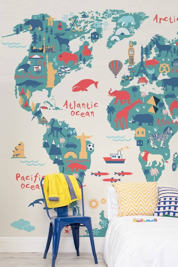 Mural : Kids World Map Stunning Wall Mural Posters Explorer Kids In 2017 World Map Wall Art For Kids (View 14 of 20)