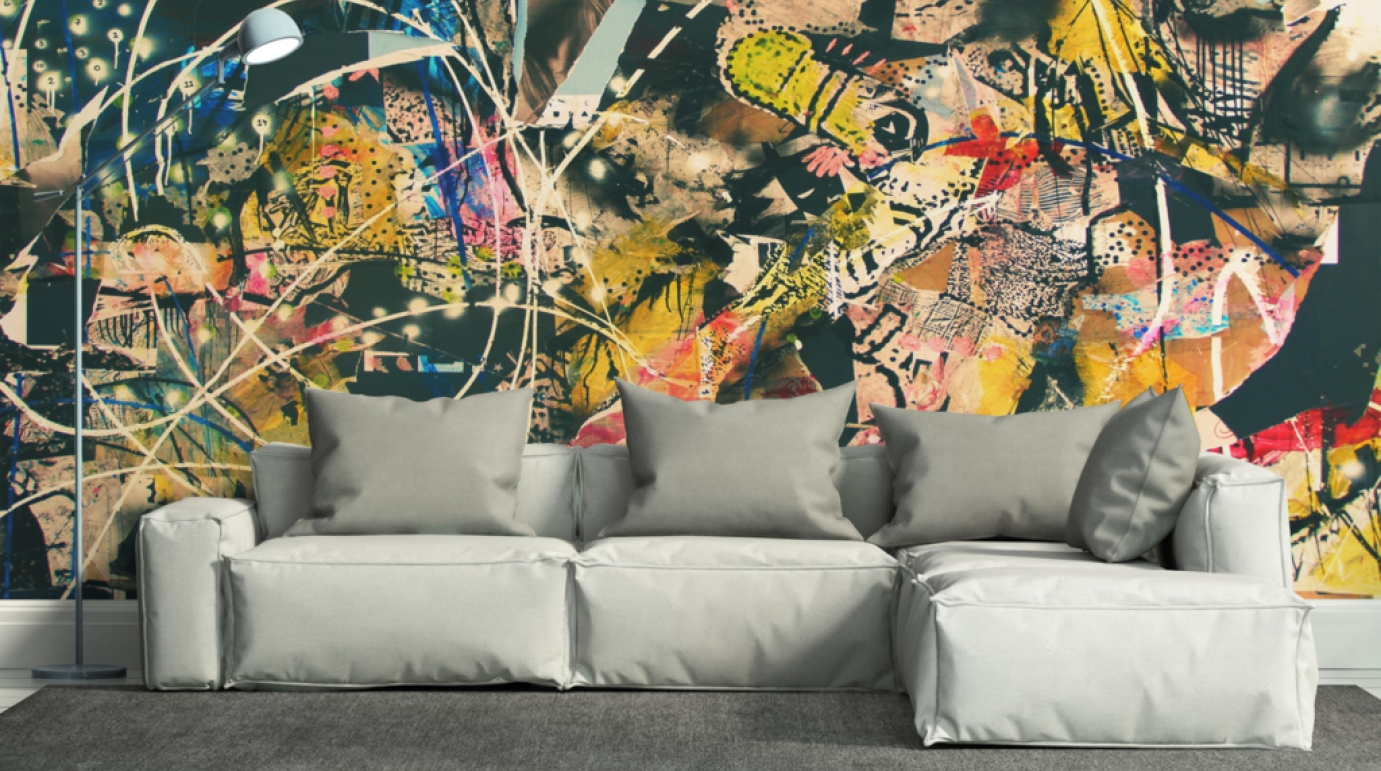 Mural : Pleasant Wall Art Decals Leaves Exotic Wall Art Decals Intended For Current Map Wall Art Toronto (View 17 of 20)