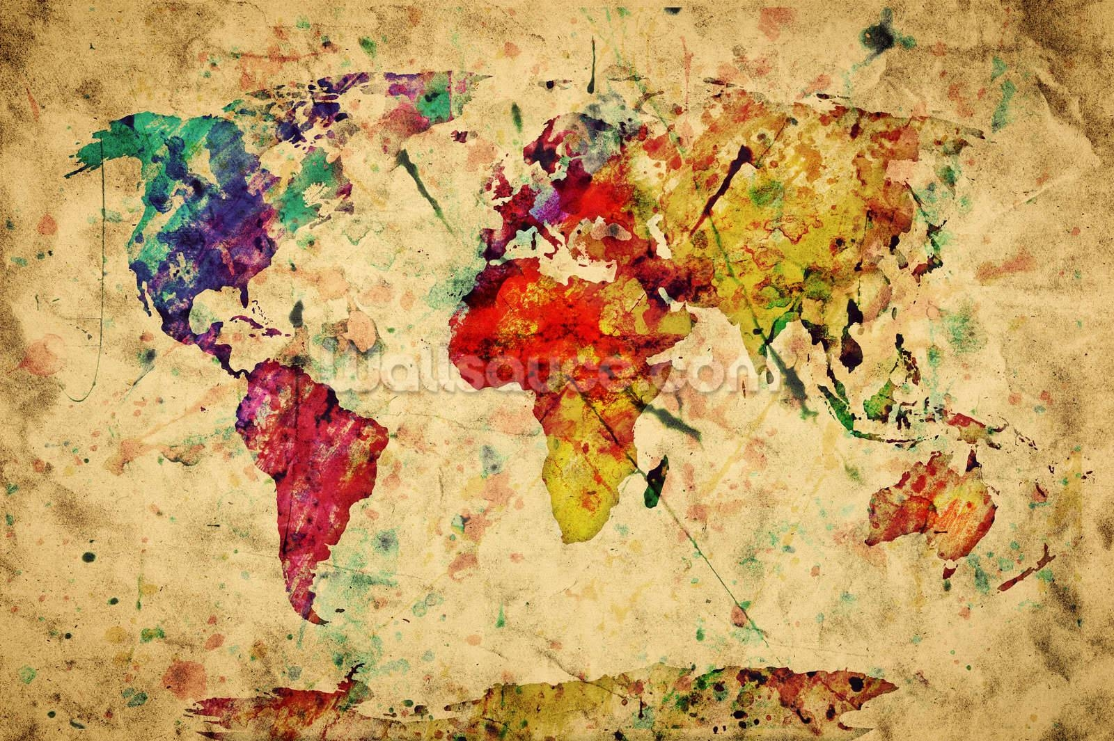 Mural : World Map Wall Decal Stunning Map Wall Mural Black World Within Most Popular Treasure Map Wall Art (View 10 of 20)