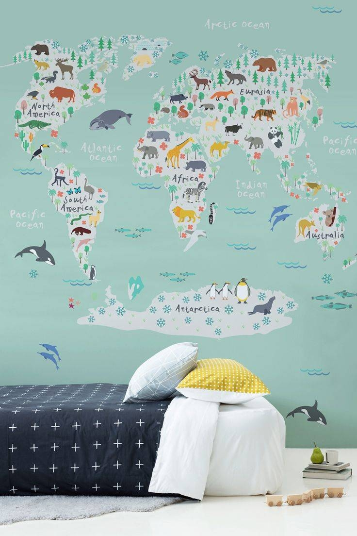 Mural : World Maps Amazing Map Mural Diy World Map Wall Art Throughout Most Current World Map Wall Art For Kids (View 15 of 20)