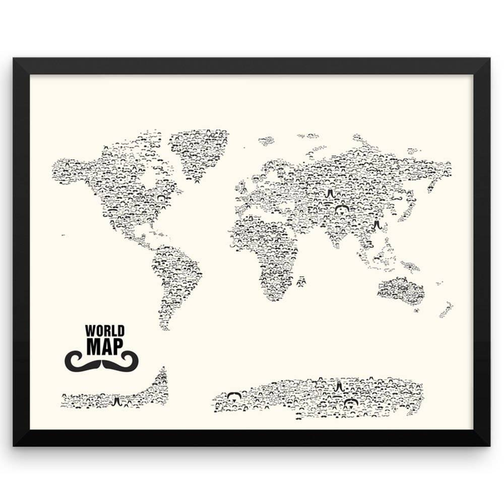 Mustache Styles World Map Wall Art Print | The Pixel Prince Intended For Most Popular Map Wall Art Prints (View 18 of 20)