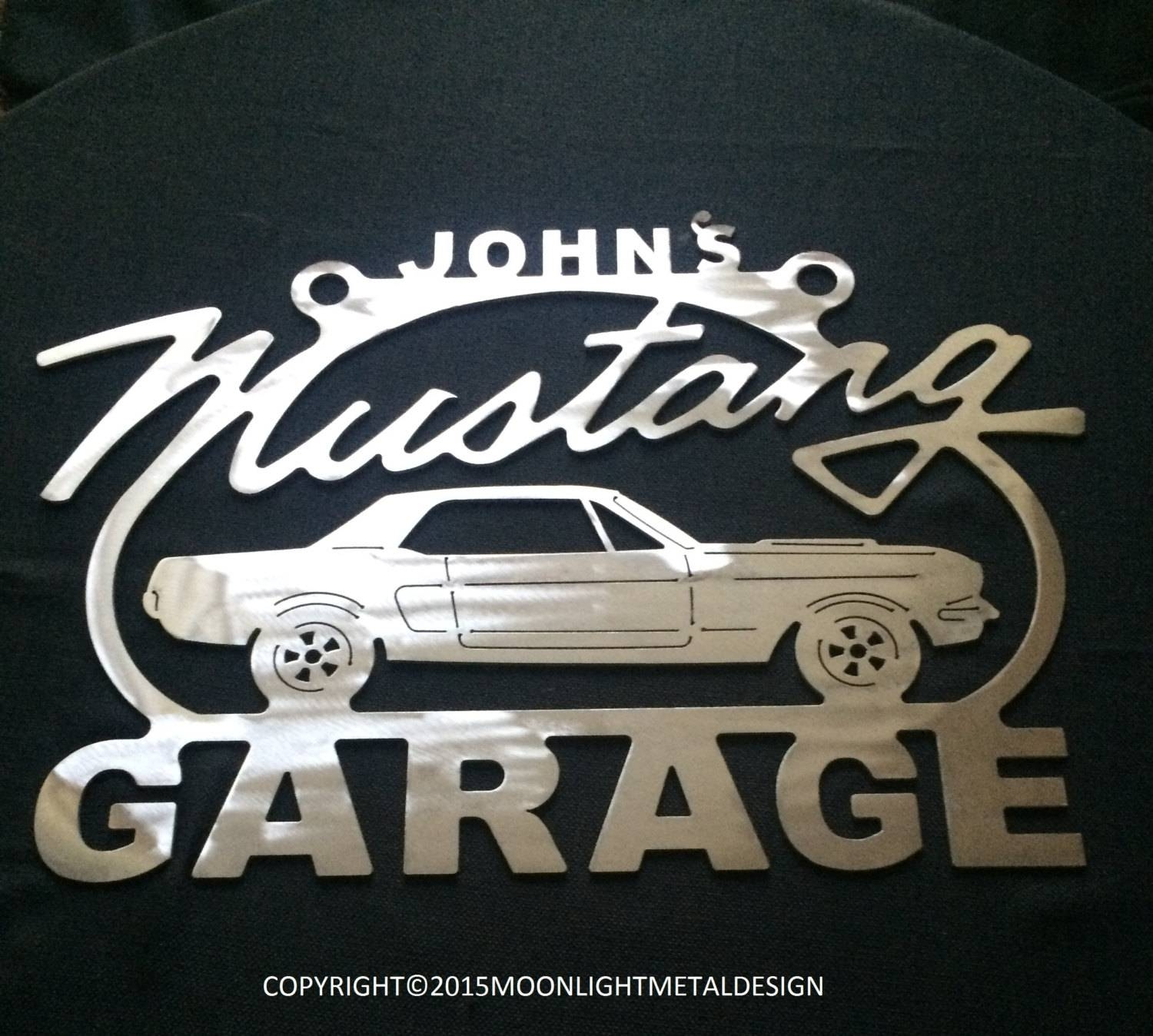 Mustang 1St Generation Metal Garage Sign / Any Name On Top / Inside Most Up To Date Ford Mustang Metal Wall Art (View 10 of 20)