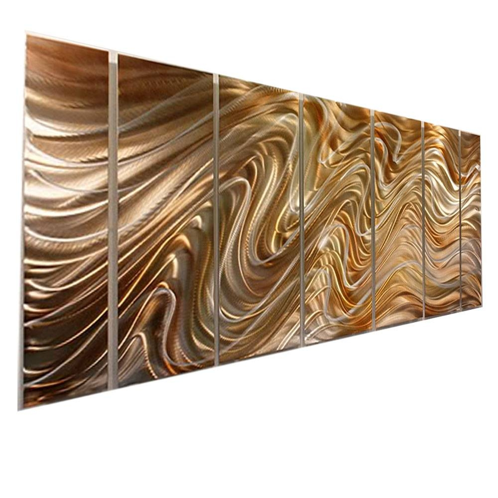 Mystic Desert Xl – Huge Abstract Painted Silver/gold Metal Wall Within Newest Gold Metal Wall Art (View 13 of 20)
