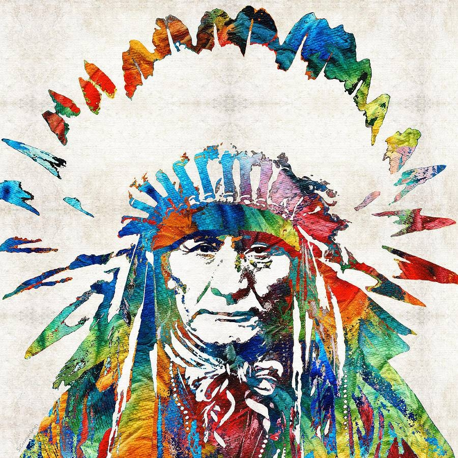 Native American Art - Chief -Sharon Cummings Painting within Most Up-to-Date Native American Metal Wall Art