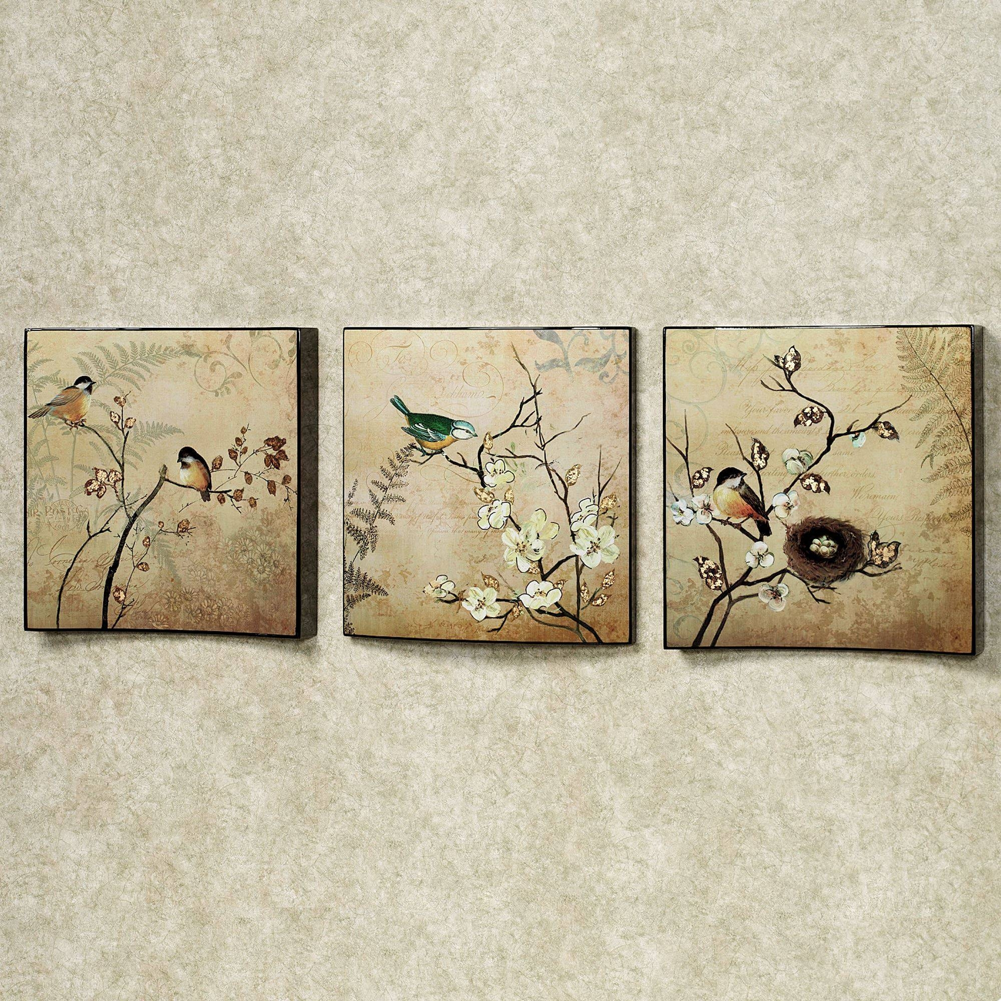 Natures Kiss Birds Wall Art Set For Latest Metal Wall Art Sets (View 18 of 20)