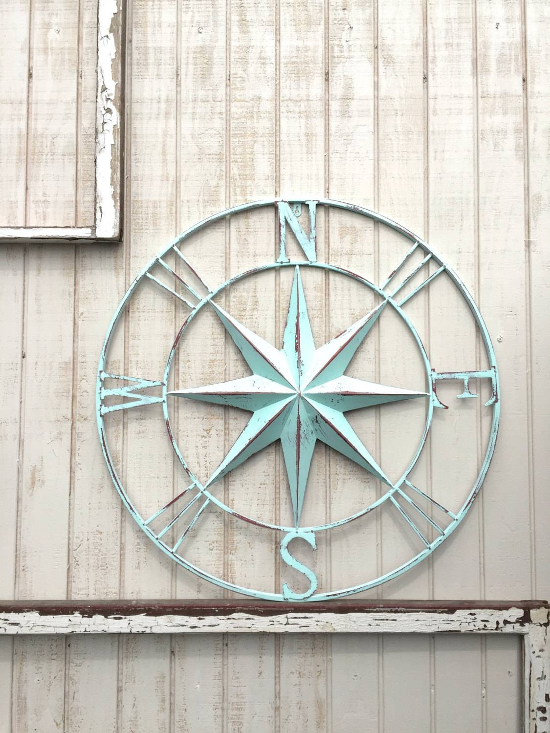 Nautical Compass Wall Art Nautical Decor Nautical Wall Art within 2018 Nautical Metal Wall Art