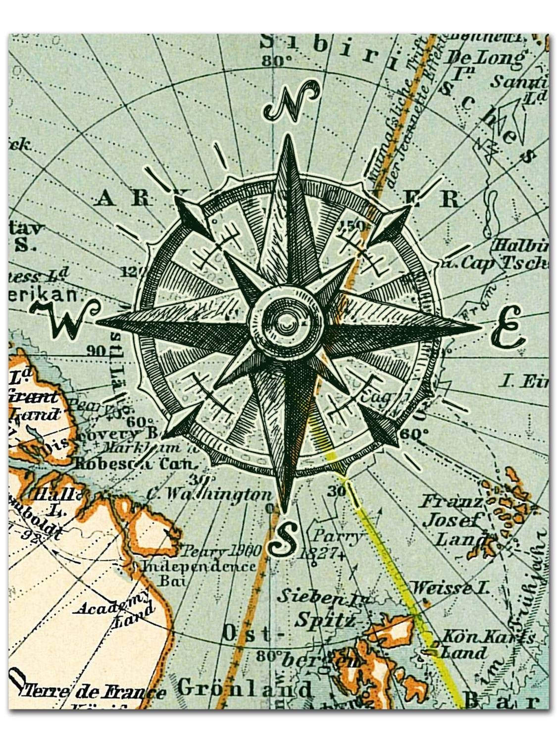 Nautical Map Compass Print Compass On Map Poster Nautical in Recent Nautical Map Wall Art