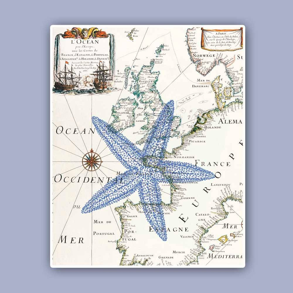Nautical Starfish Print On Antique Map Sea Star Marine Wall Throughout Best And Newest Nautical Map Wall Art (View 8 of 20)