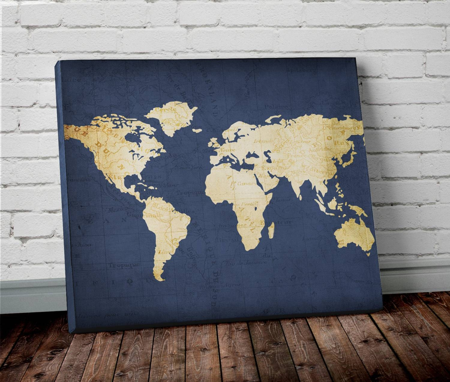 Navy World Map Wall Art Canvas World Map Print In Navy Blue within Best and Newest Canvas Map Wall Art