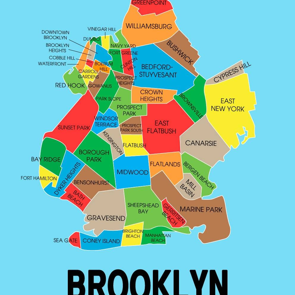 Neighborhood Map Of Brooklyn New York Wall Art Print   The Pixel For Most Recent Brooklyn Map Wall Art (Gallery 19 of 20)