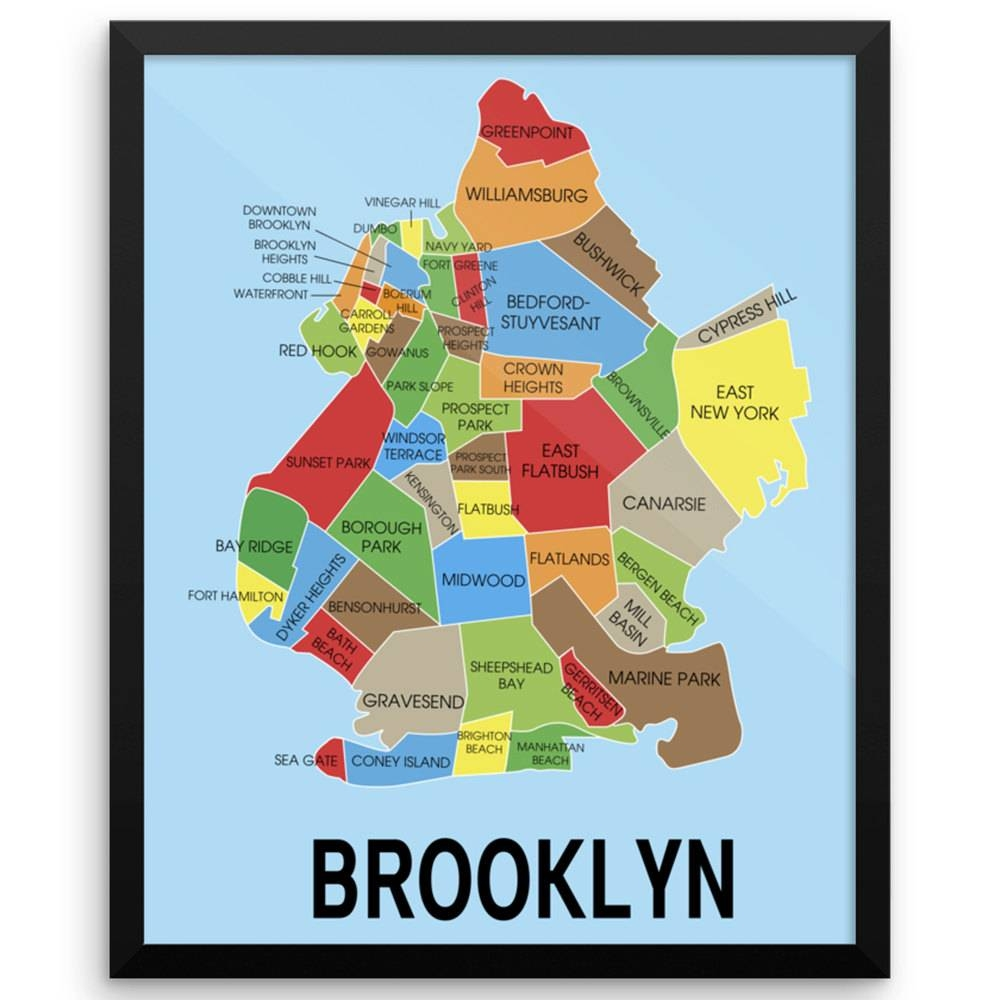 Neighborhood Map Of Brooklyn New York Wall Art Print | The Pixel With Regard To 2018 Brooklyn Map Wall Art (View 16 of 20)