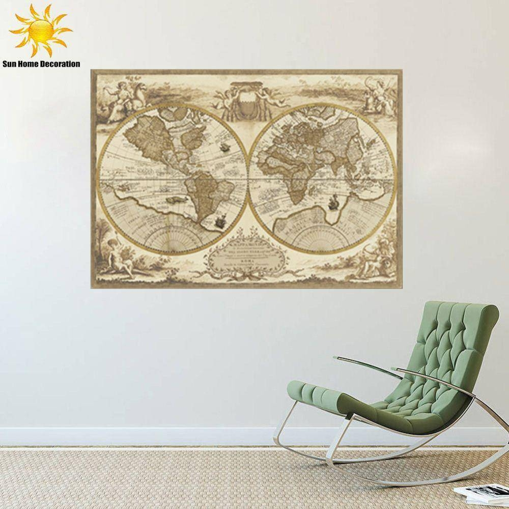 New Europe Retro World Map Wall Sticker Interior Living Room intended for Newest Europe Map Wall Art