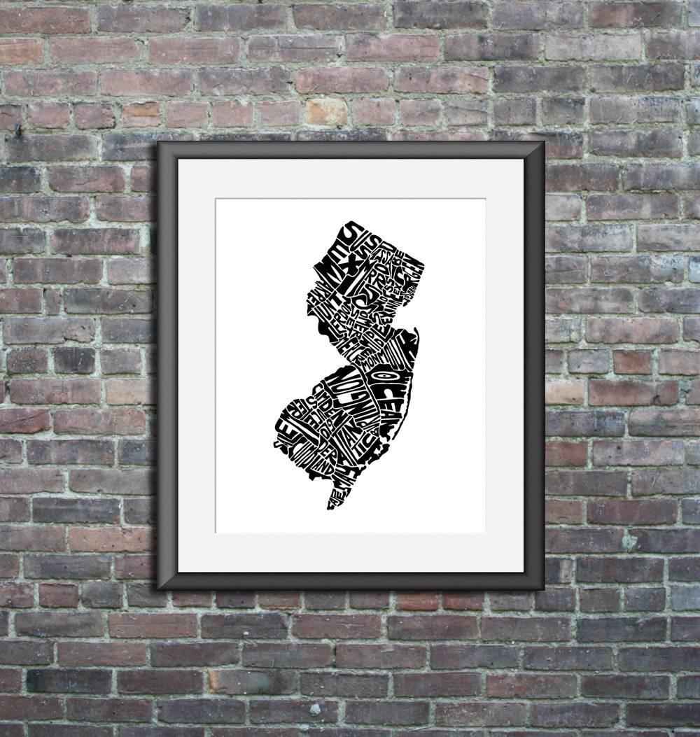 New Jersey Typography Map Art Unframed Print Customizable inside 2017 State Map Wall Art