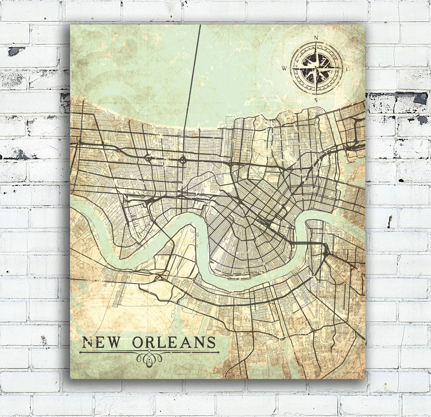 New Orleans La Canvas Print Louisiana La Vintage Map New With Best And Newest New Orleans Map Wall Art (Gallery 11 of 20)