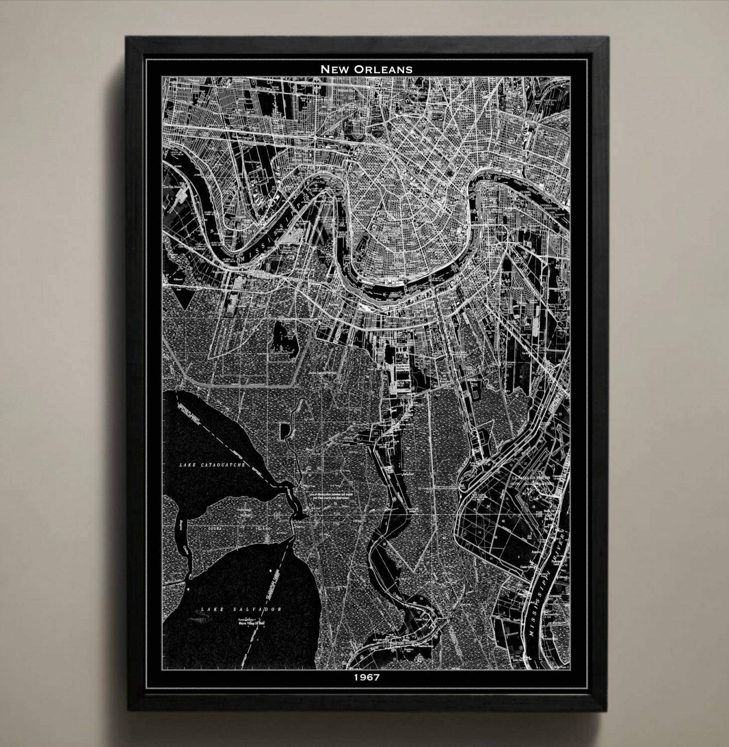 New Orleans Map Print Black And White New Orleans Wall Art Inside Most Current New Orleans Map Wall Art (Gallery 8 of 20)