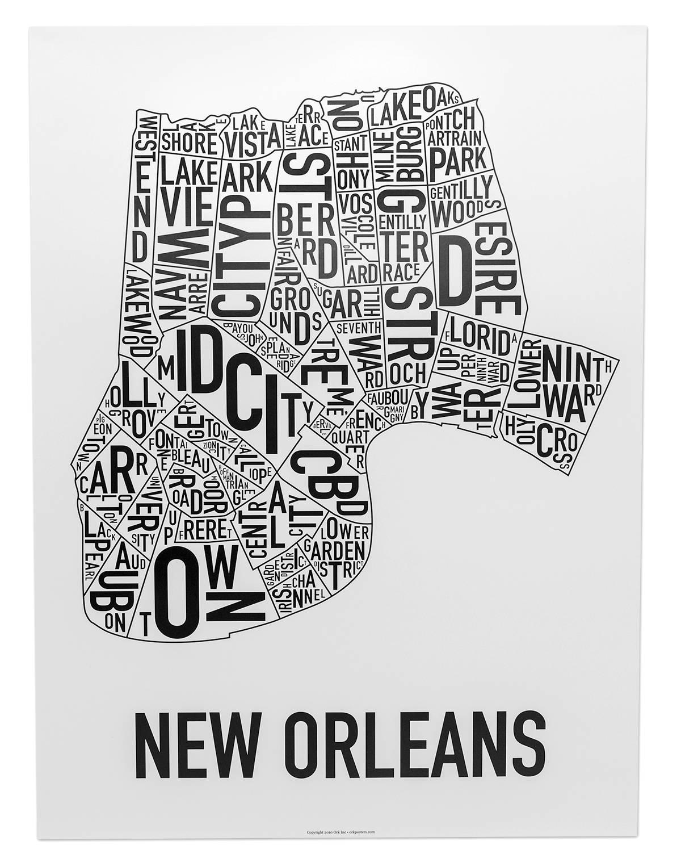 New Orleans Neighborhoods Map Art (View 12 of 20)