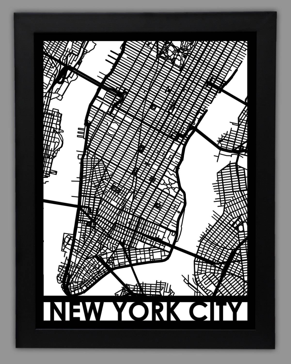 New York City Laser Cut Map 18X24 Framed City Map Throughout Current New York City Map Wall Art (View 5 of 20)