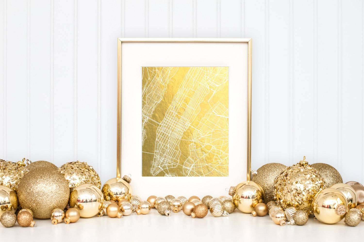 New York City Map Gold Foil Map™ Map Print New York Print Regarding Most Up To Date New York Map Wall Art (View 17 of 20)