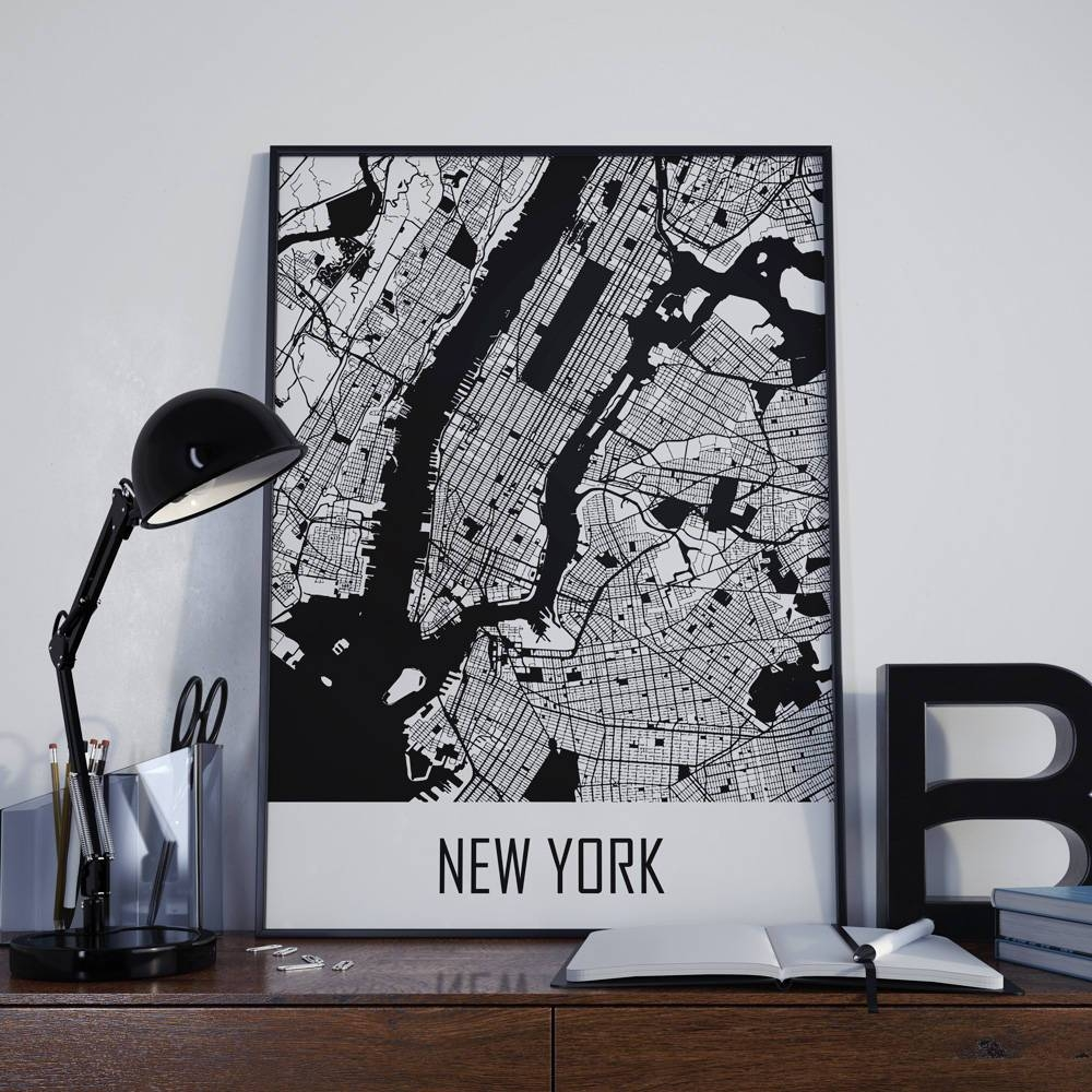 New York City Map New York Map Manhattan Map City Map New York Throughout Most Popular Manhattan Map Wall Art (View 18 of 20)