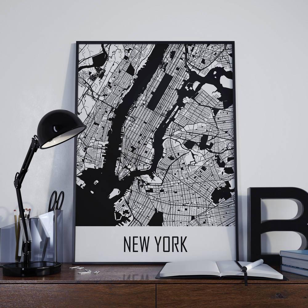 New York City Map New York Map Manhattan Map City Map New York throughout Most Popular Manhattan Map Wall Art