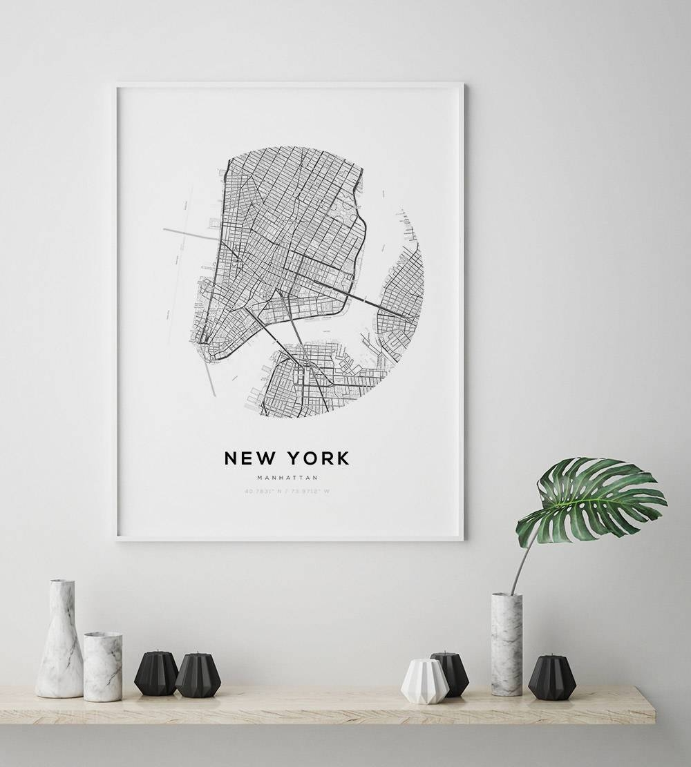 New York City Map Ny Map Art Modern Minimalist Nyc Map With Best And Newest Manhattan Map Wall Art (View 11 of 20)
