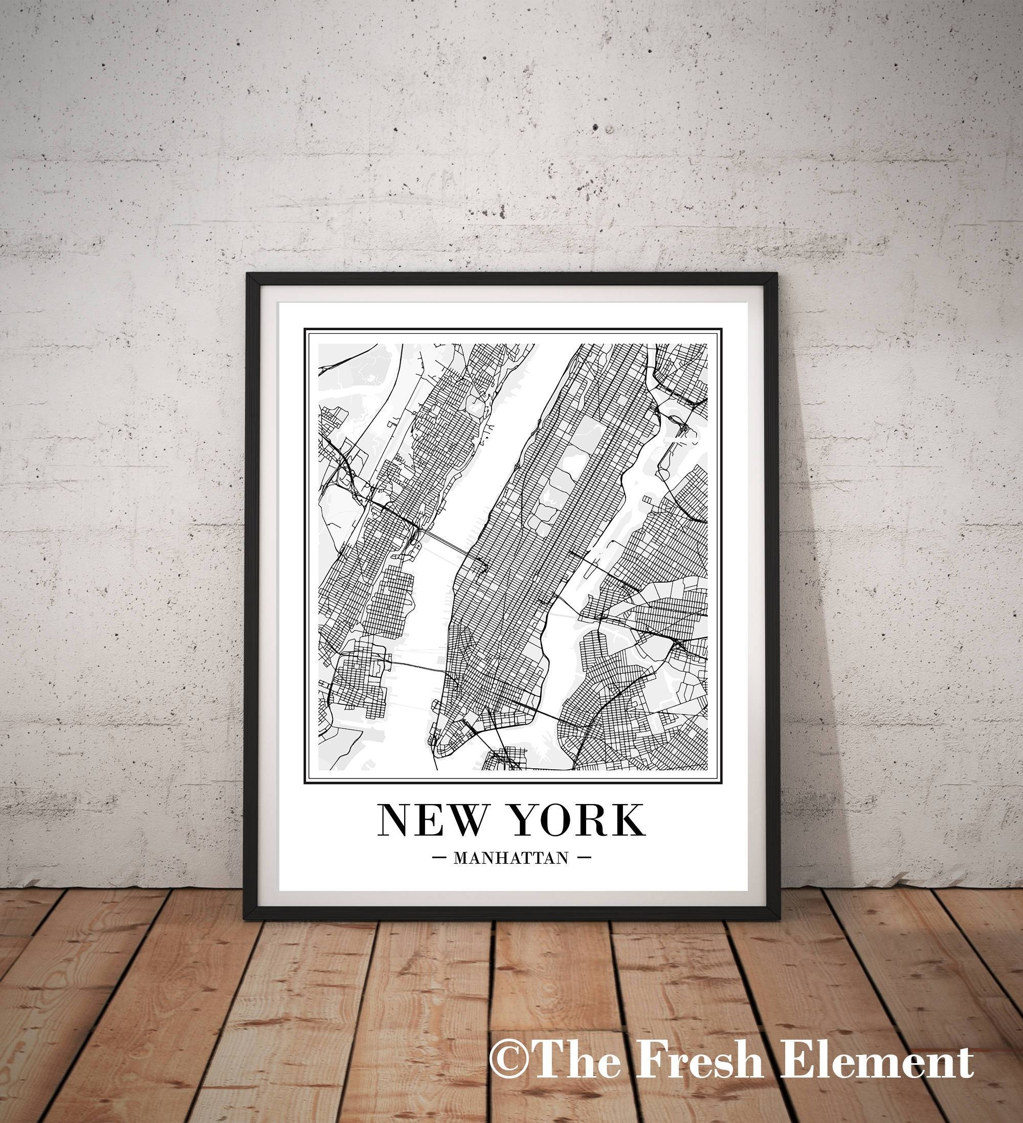 New York City Map Print New York Map Print Printable Map Ny regarding Current Manhattan Map Wall Art