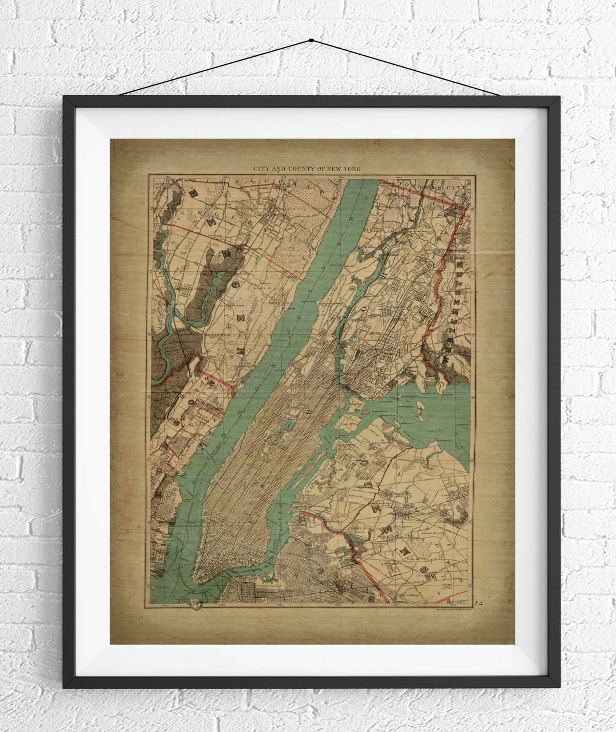 New York City Map Print, Vintage Map Art, Antique Map, Nyc Map Inside Most Recently Released New York City Map Wall Art (View 8 of 20)