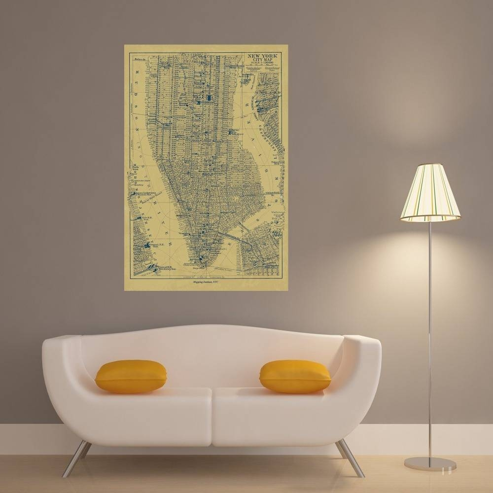 New York City Map Vintage Retro Posters And Prints Home Decoration In 2018 New York City Map Wall Art (View 16 of 20)