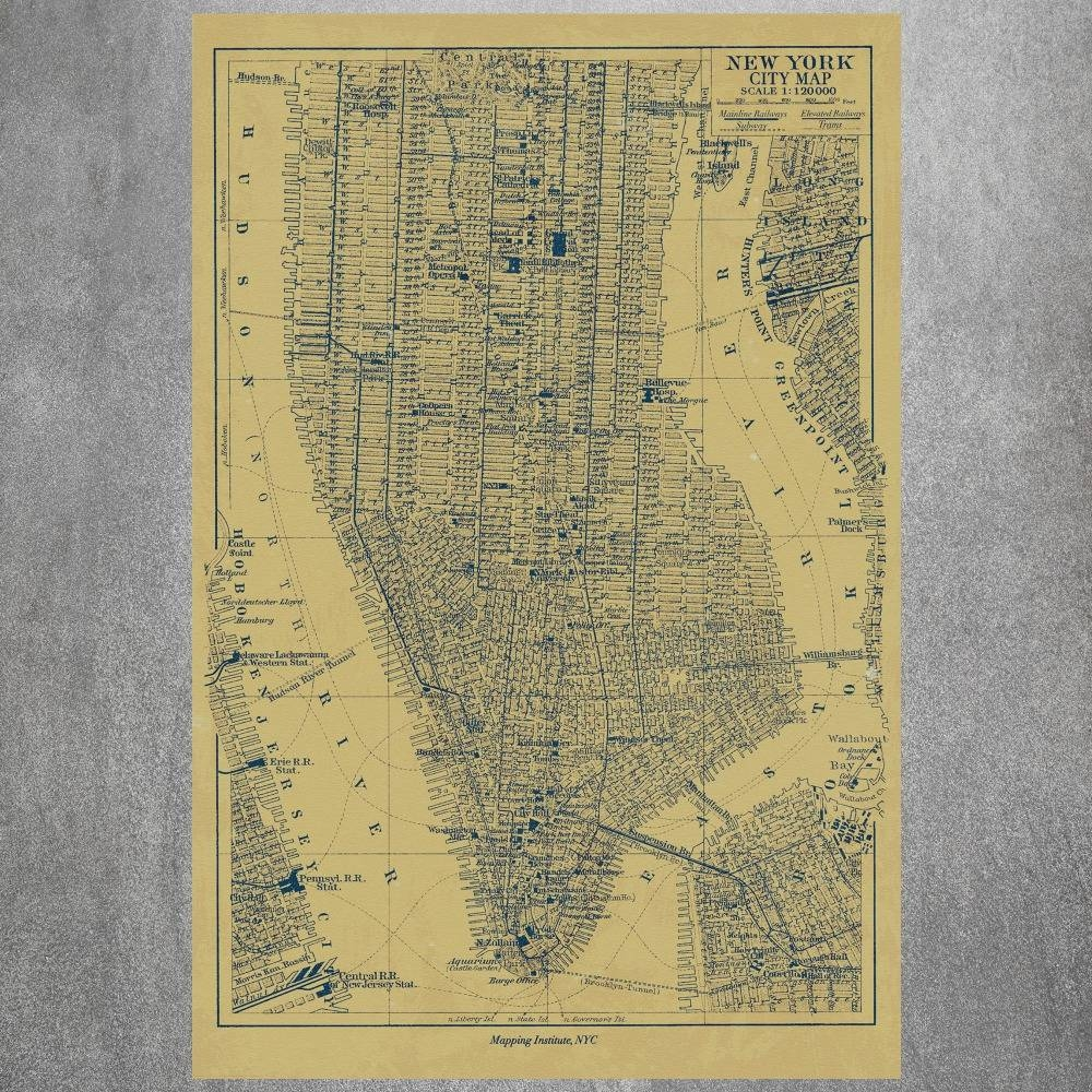 New York City Map Vintage Retro Posters And Prints Home Decoration Within 2017 New York Map Wall Art (View 5 of 20)