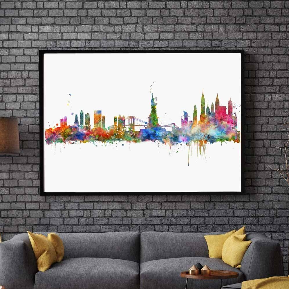 New York City Skyline Watercolor Poster Ny City Map Skyline Art In Current City Map Wall Art (Gallery 20 of 20)