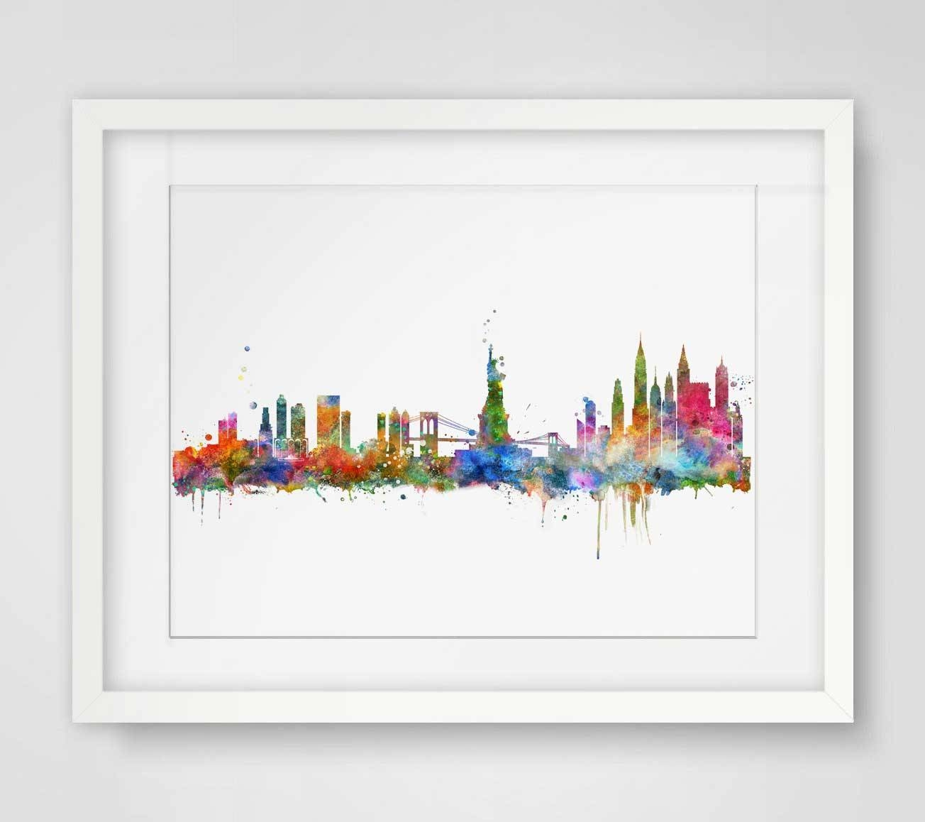 New York City Skyline Watercolor Poster Ny City Map Skyline Art With Regard To Current City Prints Map Wall Art (View 15 of 20)