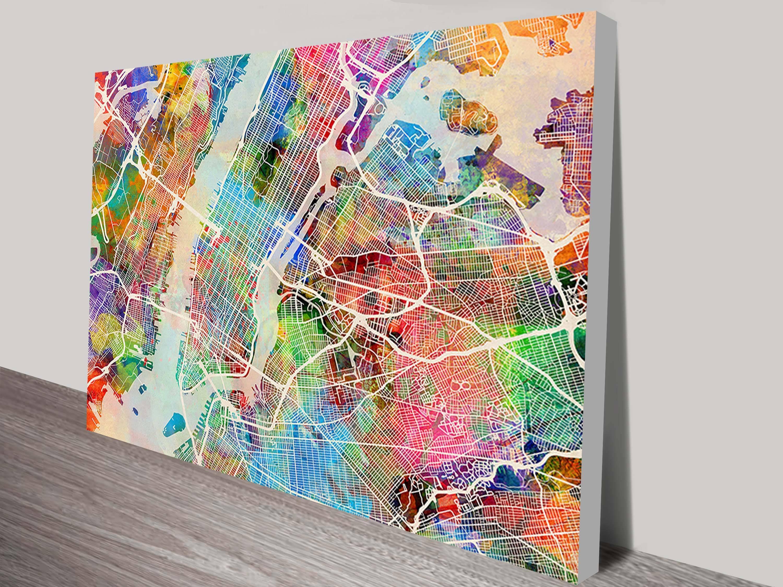 New York City Street Map Art Printmichael Tompsett Intended For Most Current Street Map Wall Art (View 15 of 20)