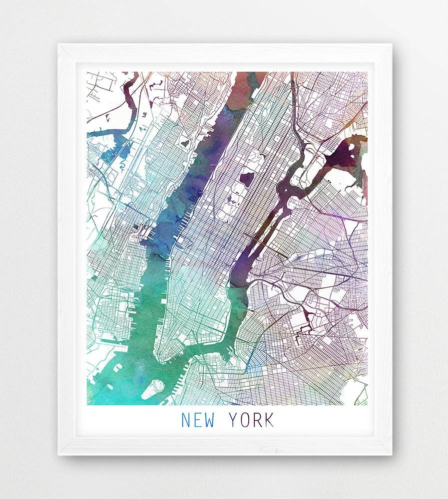 New York City Urban Map Poster New York Street Map Print in Recent Nyc Map Wall Art