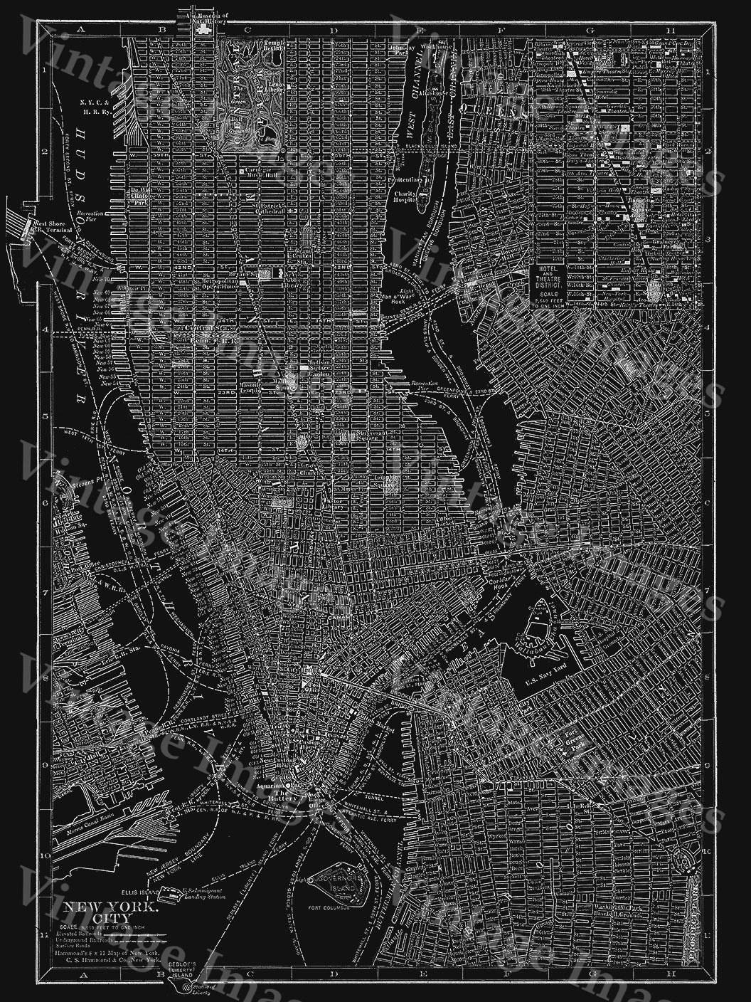 New York Map Art Huge 1910 Black & White New York City Map Antique With Regard To Most Up To Date New York Map Wall Art (View 6 of 20)