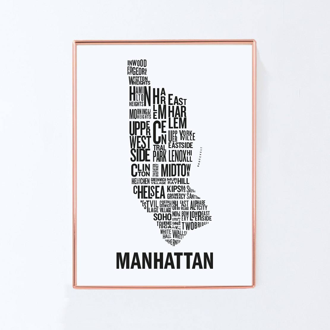 New York Map Manhattan Map Typography Map Graphic Art Usa With Latest Manhattan Map Wall Art (View 14 of 20)