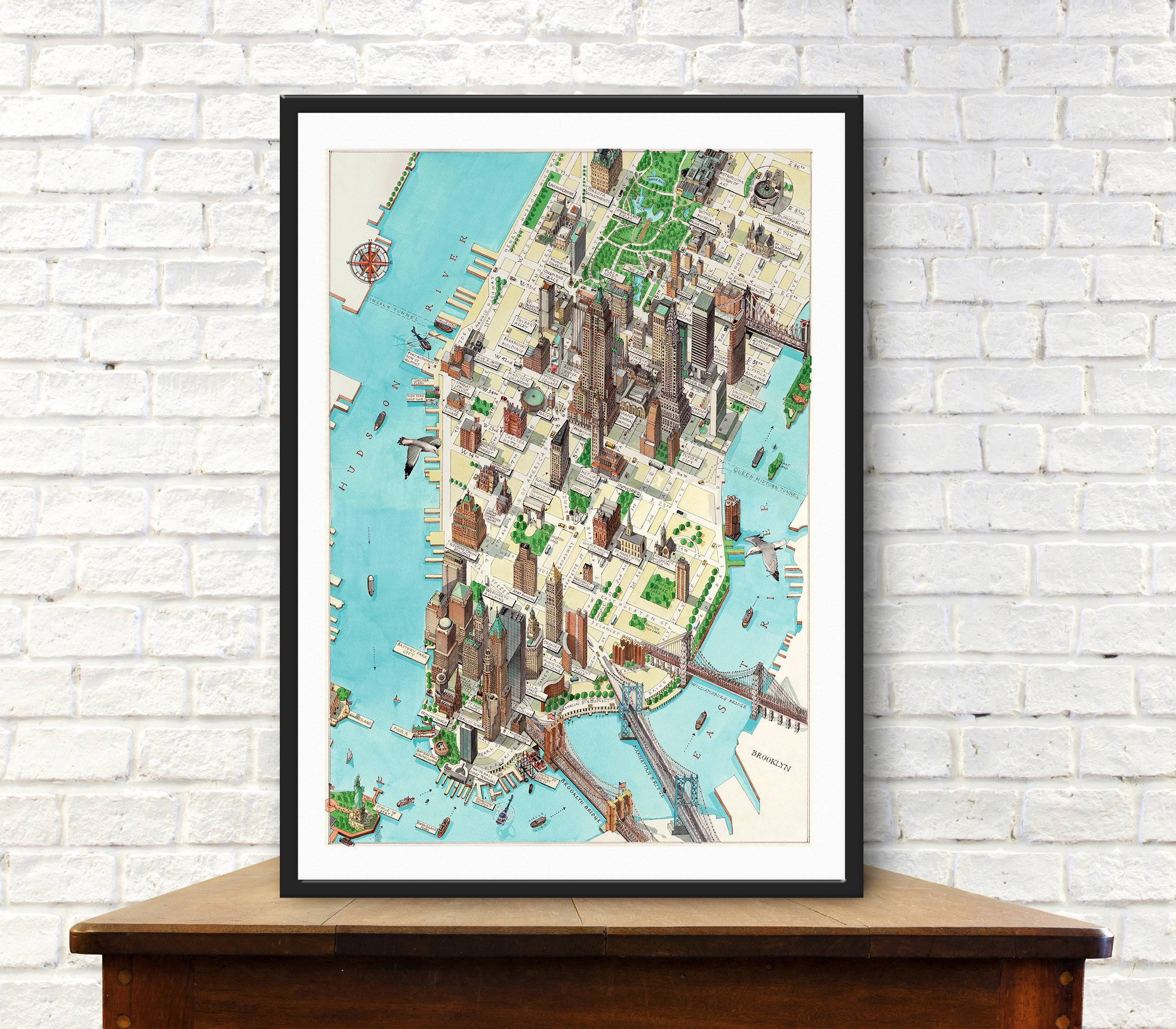 New York Map Manhattan Map Vintage Map City Of New York In Latest Manhattan Map Wall Art (View 15 of 20)