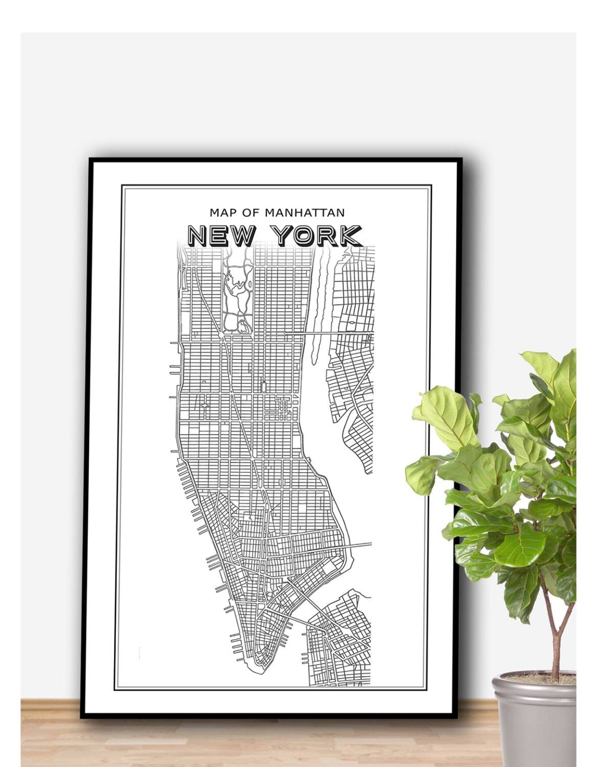 New York Map Printable File New York Print Manhattan Print pertaining to Most Current Manhattan Map Wall Art