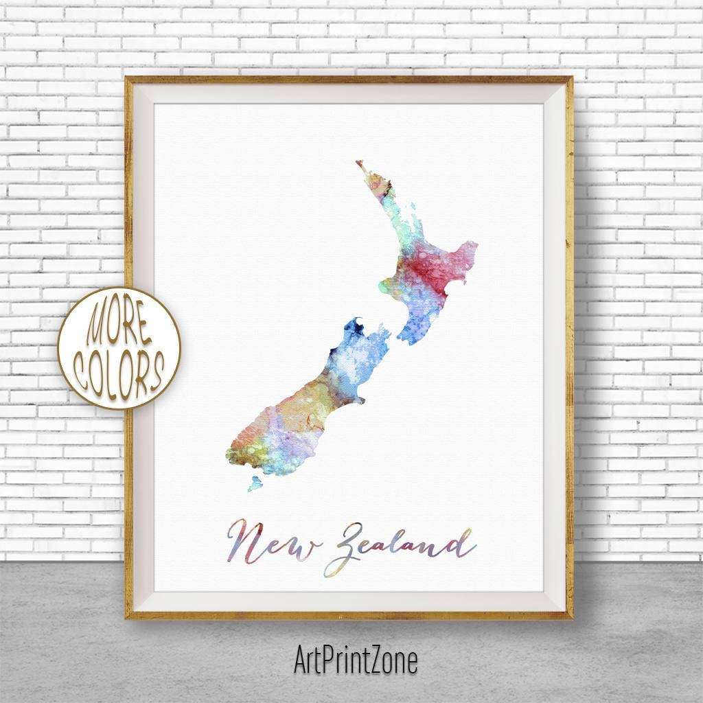 New Zealand Map Art New Zealand Art Print Home Decor Wall Prints Within Most Up To Date New Zealand Map Wall Art (View 7 of 20)