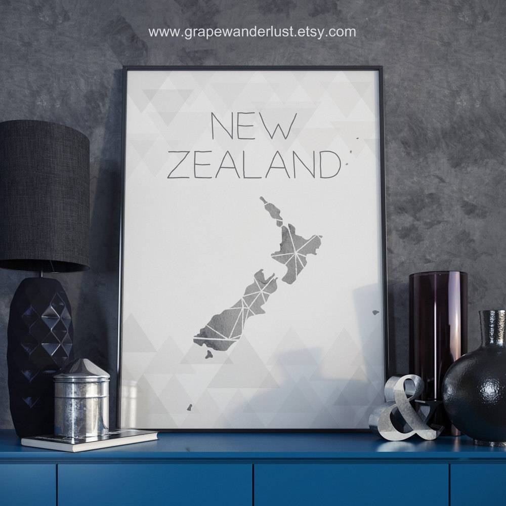 New Zealand Map New Zealand Print New Zealand Poster New Intended For Most Up To Date New Zealand Map Wall Art (View 3 of 20)