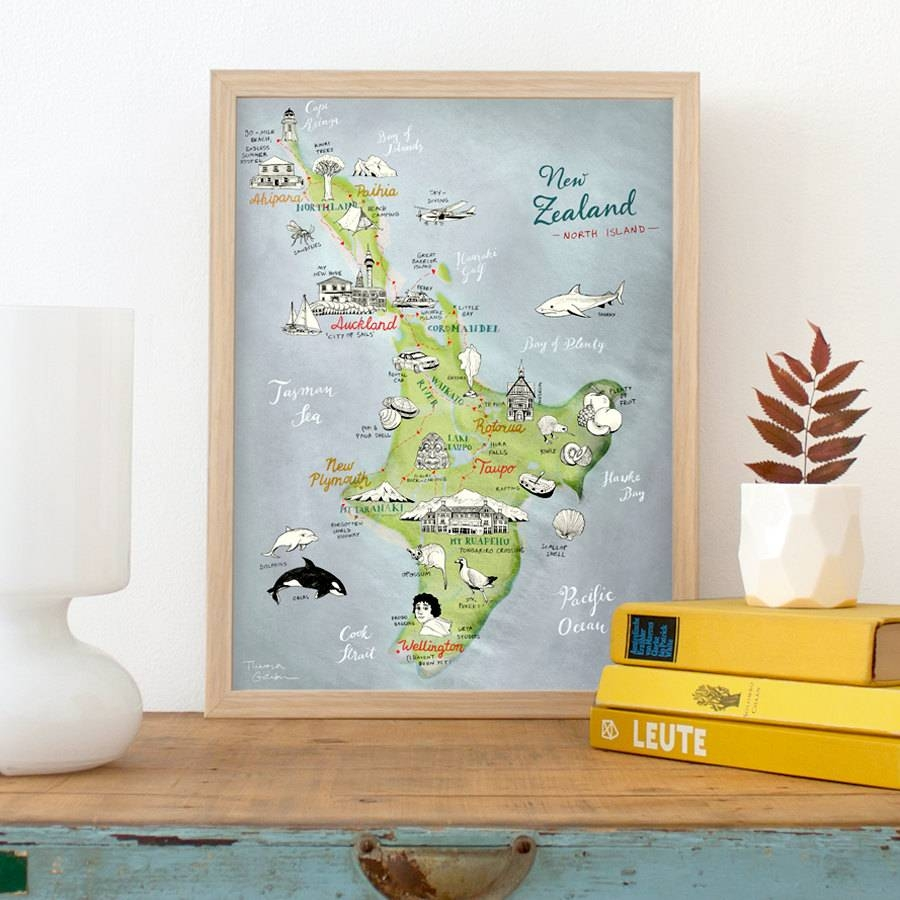 New Zealand Map Of North Island Giclee Art Print Lovely Regarding Most Current New Zealand Map Wall Art (View 8 of 20)