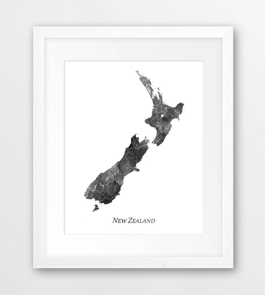 New Zealand Map Print New Zealand Poster New Zealand Wall Pertaining To 2017 New Zealand Map Wall Art (View 6 of 20)