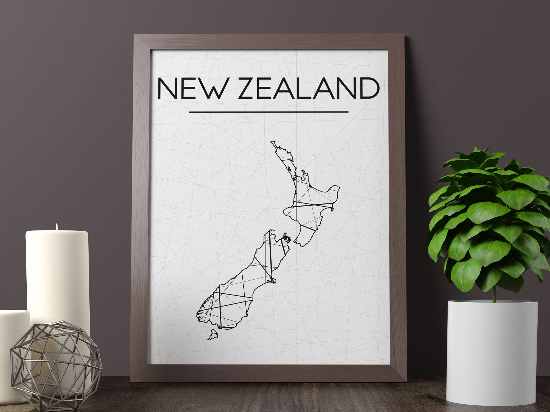New Zealand Map Print New Zealand Wall Art New Zealand Art Inside Most Up To Date New Zealand Map Wall Art (View 11 of 20)