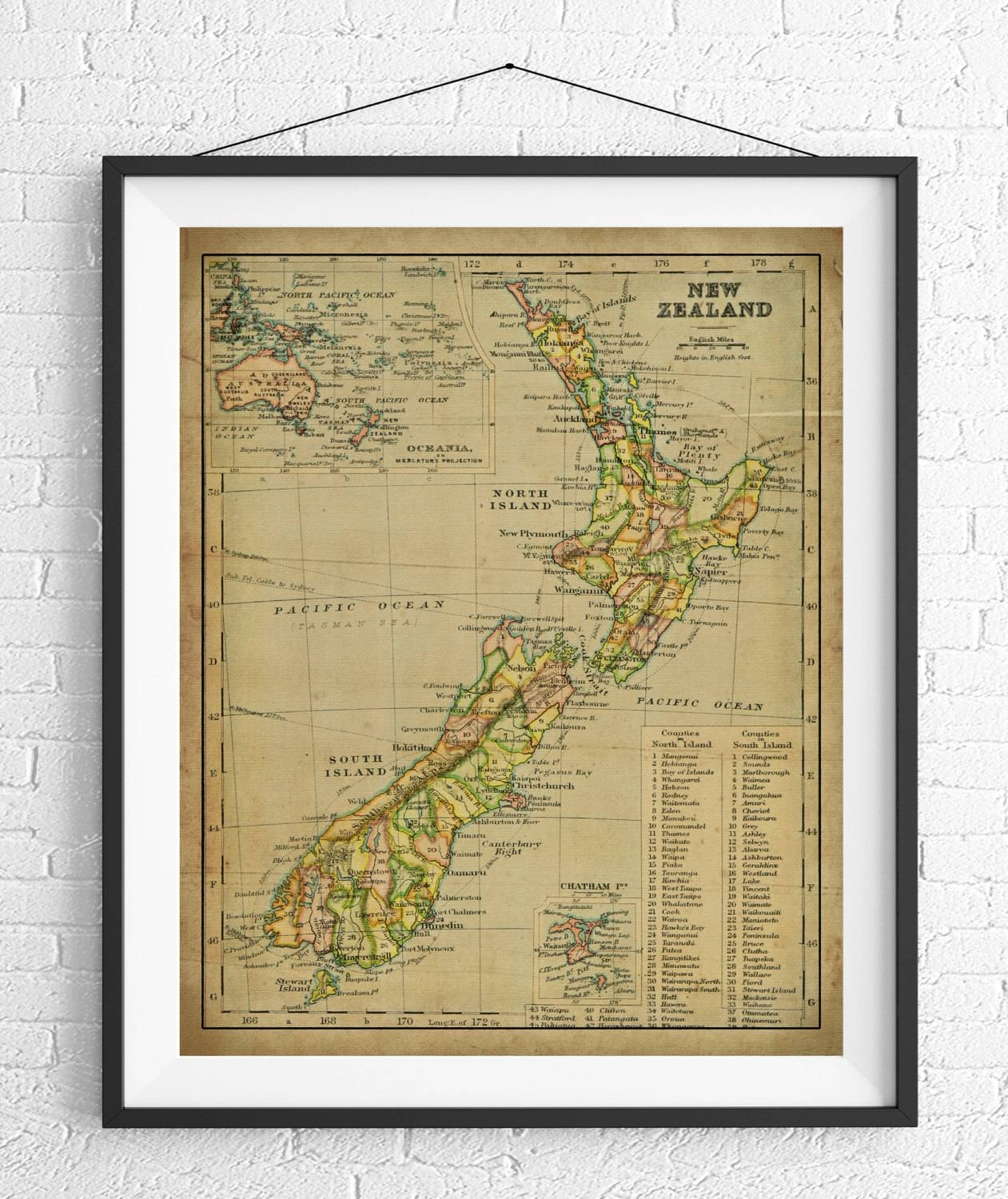 New Zealand Map Print, Vintage Map Art, Antique Map Wall Decor Pertaining To Current New Zealand Map Wall Art (View 7 of 20)