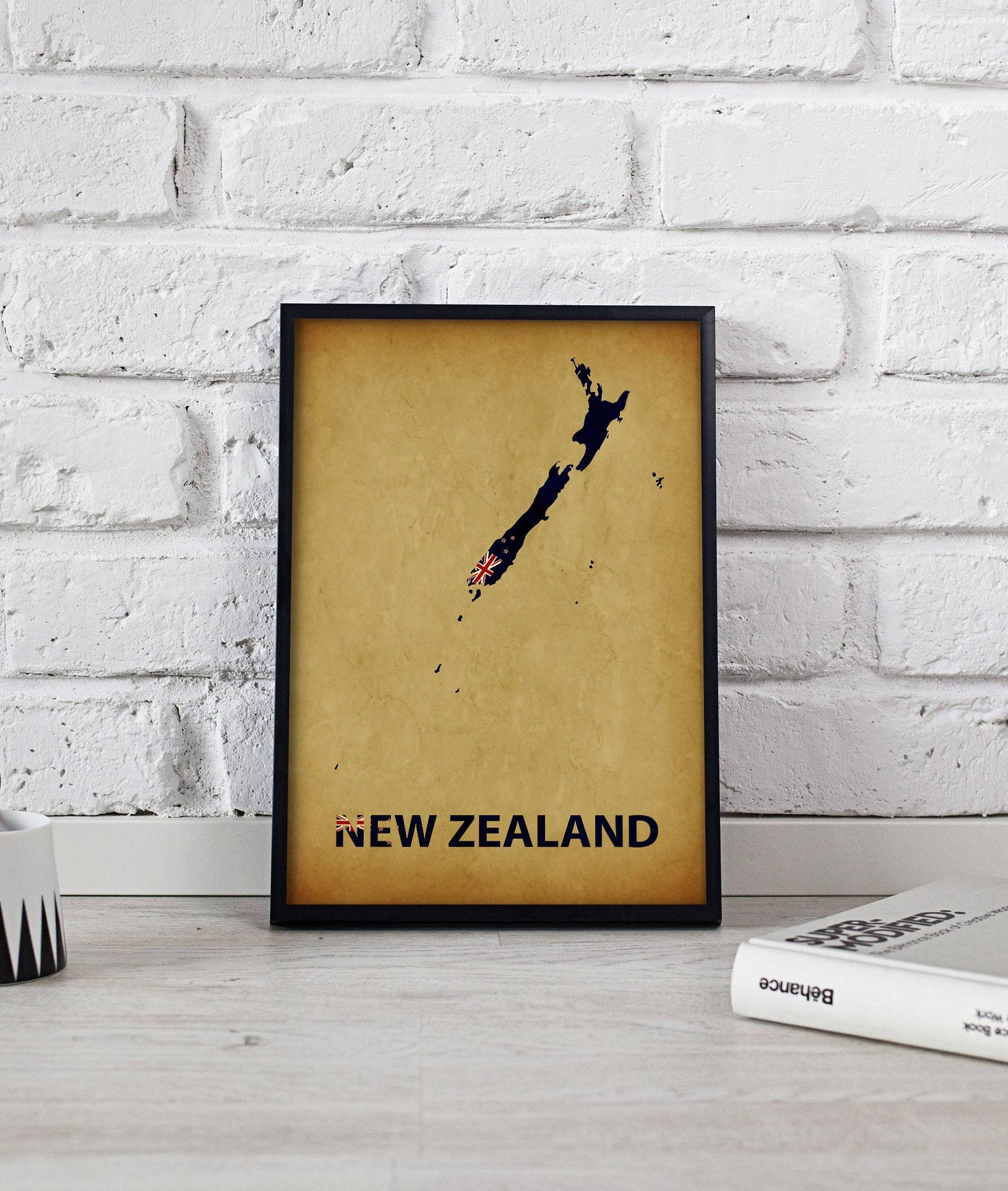New Zealand Poster New Zealand Art New Zealand Map Poster New Pertaining To Recent New Zealand Map Wall Art (View 13 of 20)