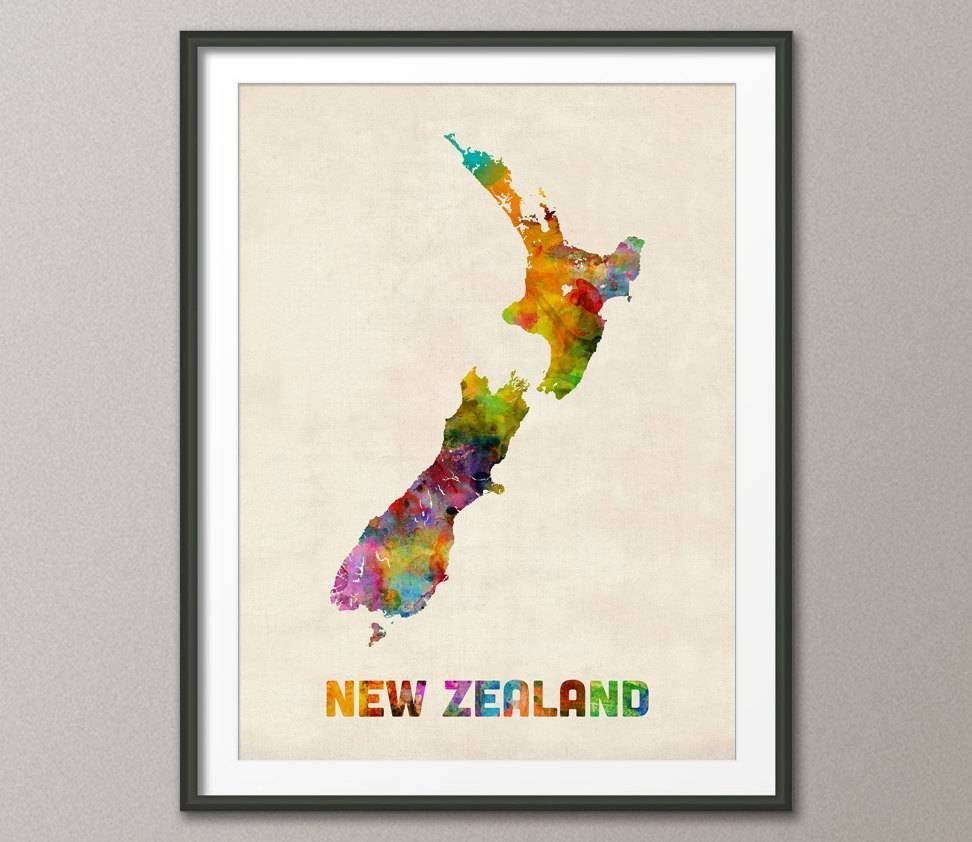 New Zealand Watercolor Map Art Print 450 Inside Latest New Zealand Map Wall Art (View 4 of 20)