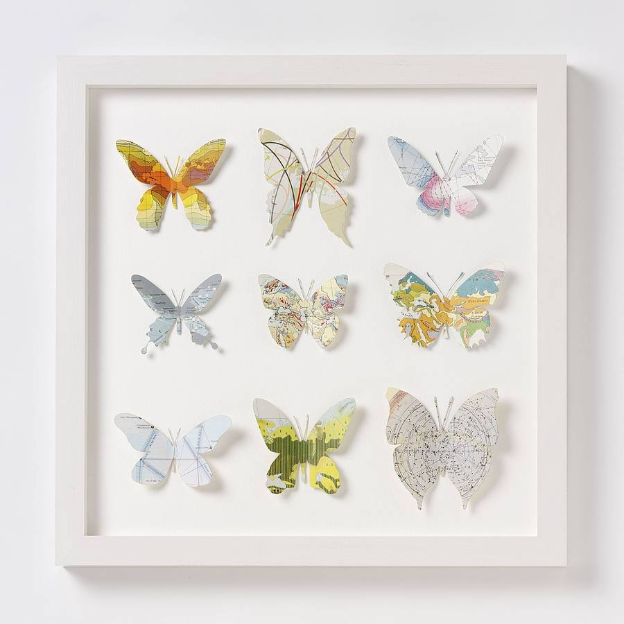 Nine Map Location Butterfly Wall Artbombus Throughout 2017 Butterfly Map Wall Art (Gallery 10 of 20)